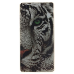 Soft IMD TPU Cover for Huawei Ascend P8 Lite - Tiger Head