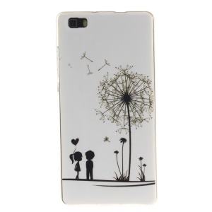 Soft IMD TPU Phone Case for Huawei Ascend P8 Lite - Dandelion and Lover