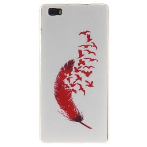 Soft IMD TPU Phone Cover for Huawei Ascend P8 Lite - Red Feather