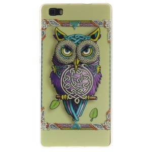 Flexible IMD TPU Shell Case for Huawei Ascend P8 Lite - Distinctive Owl