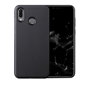 Carbon Fiber Texture Soft TPU Cell Phone Case for Huawei Honor Play - Black