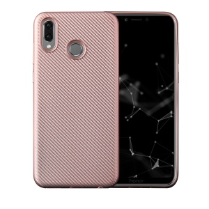 Carbon Fiber Texture Soft TPU Mobile Phone Shell for Huawei Honor Play - Rose Gold