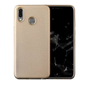 Carbon Fiber Texture Soft TPU Back Protector Cover for Huawei Honor Play - Gold