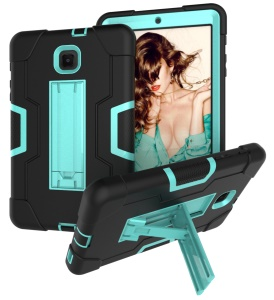 Cool Drop-proof Anti-dust PC Silicone Tablet Case with Kickstand for Samsung Galaxy Tab A 8.0 (2018) SM-T387 - Black / Cyan