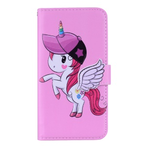 Unicorn Pattern Wallet Leather Cover with Mirror for Huawei Mate 20 Lite / Maimang 7 - Pink