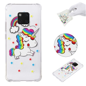 Anti-drop Patterned TPU Gel Mobile Casing for Huawei Mate 20 Pro - Unicorn and Rainbow