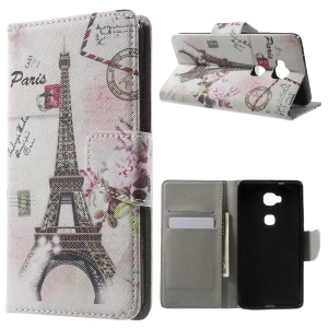 Leather Wallet Stand Shell for Huawei Honor 5X - Paris Eiffel Tower