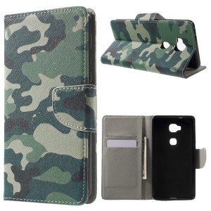 Leather Card Holder Stand Case for Huawei Honor 5X - Camouflage Pattern