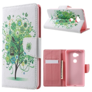 Leather Wallet Stand Case for Huawei Honor 5X - Birds and Cage