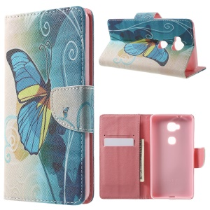 Leather Wallet Stand Case for Huawei Honor 5X - Blue Butterfly
