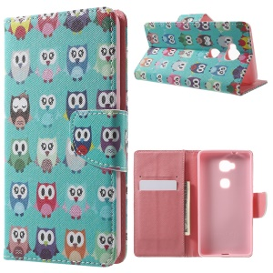 Leather Wallet Stand Phone Shell for Huawei Honor 5X - Multiple Owls
