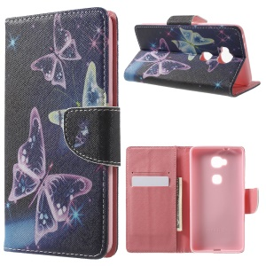Leather Wallet Stand Case for Huawei Honor 5X - Translucent Butterfly