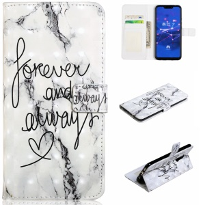 Light Spot Decor Patterned Embossed Leather Wallet Case for Huawei Mate 20 Lite - English Characters