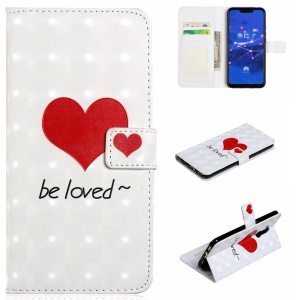 Light Spot Decor Patterned Embossed Leather Wallet Cover for Huawei Mate 20 Lite - Red Heart