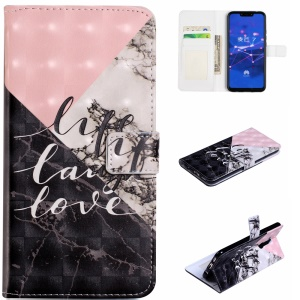 Light Spot Decor Patterned Embossed Leather Wallet Phone Case for Huawei Mate 20 Lite - Marble Texture and Characters