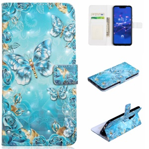 Light Spot Decor Patterned Embossed Leather Wallet Shell Case Cover for Huawei Mate 20 Lite - Blue Butterfly