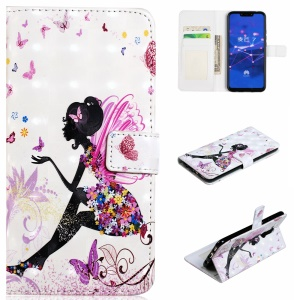 Light Spot Decor Patterned Embossed Magnetic Leather Stand Case for Huawei Mate 20 Lite - Beauty