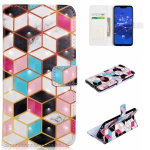 Light Spot Decor Patterned Embossed Wallet Leather Protection Case for Huawei Mate 20 Lite - Geometric Pattern
