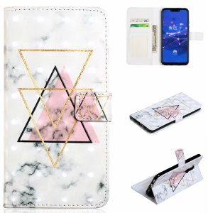 Light Spot Decor Patterned Embossed Leather Wallet Case Shell Cover for Huawei Mate 20 Lite - Triangle