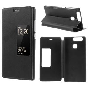 View Window Smart Leather Stand Case for Huawei P9 - Black