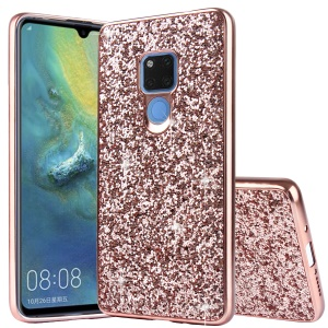 Glittering Sequins Electroplating TPU PC Combo Cover for Huawei Mate 20 - Rose Gold