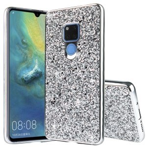 Glittering Sequins Electroplating TPU PC Combo Case for Huawei Mate 20 - Silver