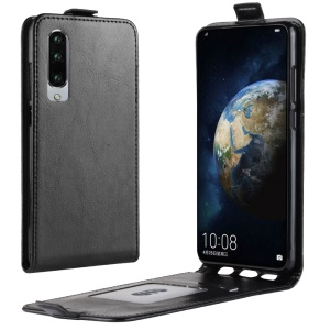 Crazy Horse Vertical Flip Leather Case with Card Holder for Huawei P30 - Black