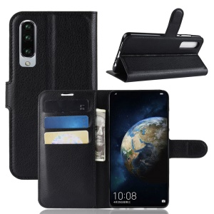 Litchi Texture Wallet Stand Leather Protective Case for Huawei P30 - Black
