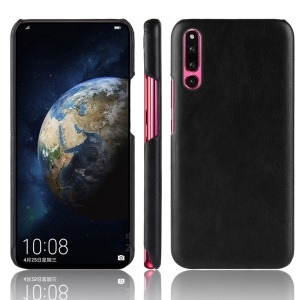 For Huawei P30 Litchi Texture PU Leather Coated Plastic Phone Shell - Black