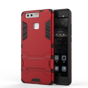 Cool Design Plastic + TPU Case Dual Guard for Huawei P9 - Red