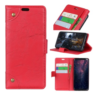Retro Style Leather Wallet Shell for Huawei P30 - Red