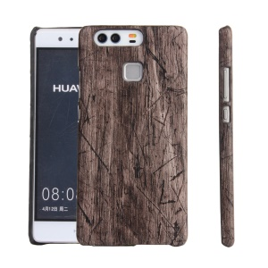For Huawei P9 Leather Coated PC Hard Cover Case - Wood Texture
