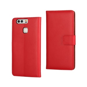 Genuine Split Leather Stand Case Cover for Huawei P9 - Red