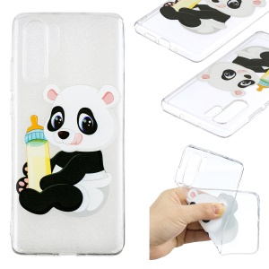 Pattern Printing TPU Case for Huawei P30 Pro - Panda Holding a Bottle