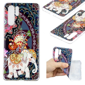 Pattern Printing TPU Case Cover for Huawei P30 Pro - Flower and Elephant