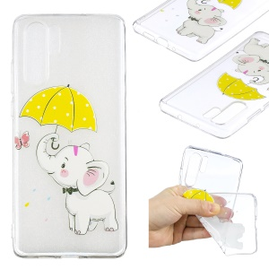 Pattern Printing TPU Phone Shell Case for Huawei P30 Pro - Elephant Holding an Umbrella