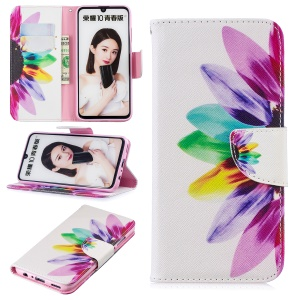 Pattern Printing PU Leather Flip Case for Huawei P Smart (2019) / Honor 10 Lite - Petals Pattern