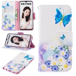 Pattern Printing PU Leather Flip Flip Case for Huawei P Smart (2019) / Honor 10 Lite - Blue Butterflies