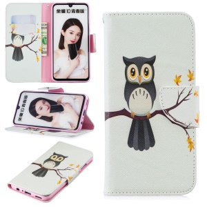 Pattern Printing Wallet Leather Stand Cover for Huawei Honor 10 Lite / P Smart (2019) - Owl on the Branch