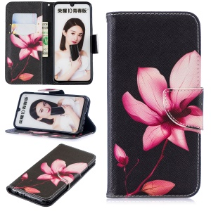 Pattern Printing Wallet Leather Stand Shell for Huawei Honor 10 Lite / P Smart (2019) - Flower Pattern