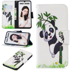 Pattern Printing Leather Wallet Stand Case for Huawei Honor 10 Lite / P Smart (2019) - Panda