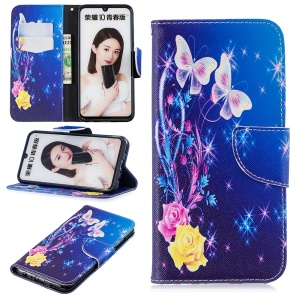 Pattern Printing Cell Phone Leather Stand Case for Huawei Honor 10 Lite / P Smart (2019) - Elegant Butterflies