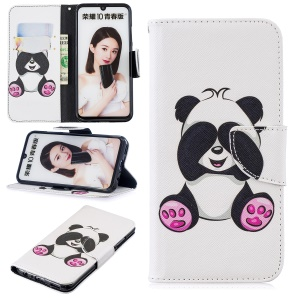 Pattern Printing Wallet Leather Protection Case for Huawei Honor 10 Lite / P Smart (2019) - Cute Panda