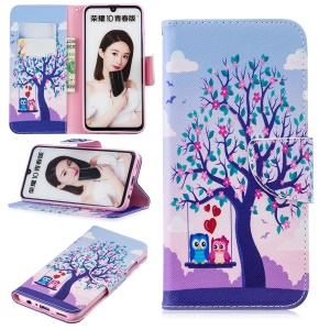 Pattern Printing Magnetic Leather Stand Case for Huawei Honor 10 Lite / P Smart (2019) - Tree and Owls