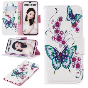 Pattern Printing Magnetic Leather Stand Cover for Huawei Honor 10 Lite / P Smart (2019) - Butterfly and Flower