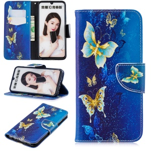 Pattern Printing Leather Stand Case with Card Slots for Huawei Honor 10 Lite / P Smart (2019) - Butterfly Pattern