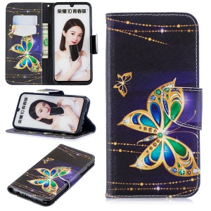 Pattern Printing Leather Stand Cover with Card Slots for Huawei Honor 10 Lite / P Smart (2019) - Colorized Butterfly