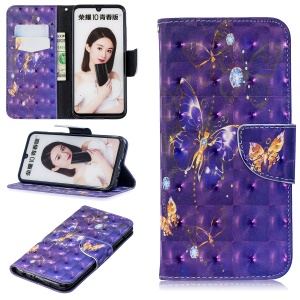 Pattern Printing Light Spot Decor Stand Wallet Leather Case for Huawei P Smart (2019) / Honor 10 Lite - Purple Butterfly