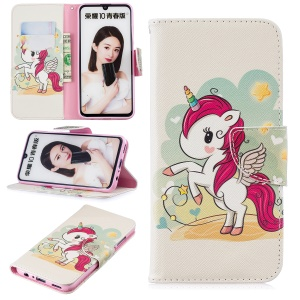 Pattern Printing PU Leather Folio Flip Mobile Phone Case for Huawei P Smart (2019) / Honor 10 Lite - Unicorn