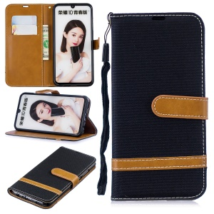 Two-tone Jean Cloth PU Leather Case with Stand for Huawei P Smart (2019) / Honor 10 Lite - Black